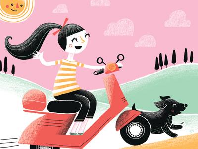 Vespa dog moped illustration