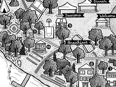 Camp Wedding map camp map illustration