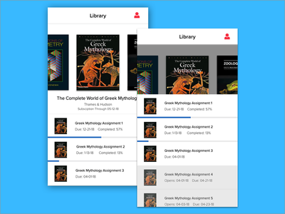 Library and Assignments List Concept