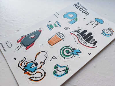 Recur Sticker Sheet subscription boston saas sticker sheet sticker design stickers flat illustration