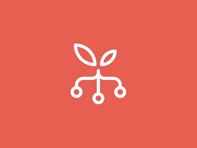 Orchard technology circuit leaves vector brand mark logo logomark