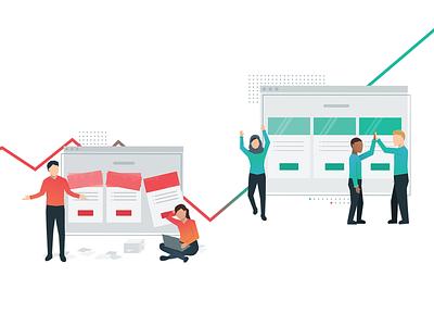 Price Intelligently Hero saas analytics data brand illustration pricing table pricing business profitwell design branding flat vector illustration