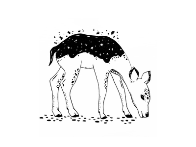 Space Critters galaxy animal illustration space animal baby animals fawn doe deer sketchbook ink illustration