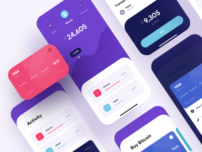 Finance App - iOS UI Dashboard - Fintech ios app finance financial fintech cryptocurrency crypto sotcks market clean colorful flat material ui rounded graphic visualization numbers math calculator