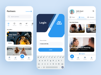 Android Flutter Reward App - Login & Feed ux ui events visual design unique simple seamless navigation onboarding login android mobile app