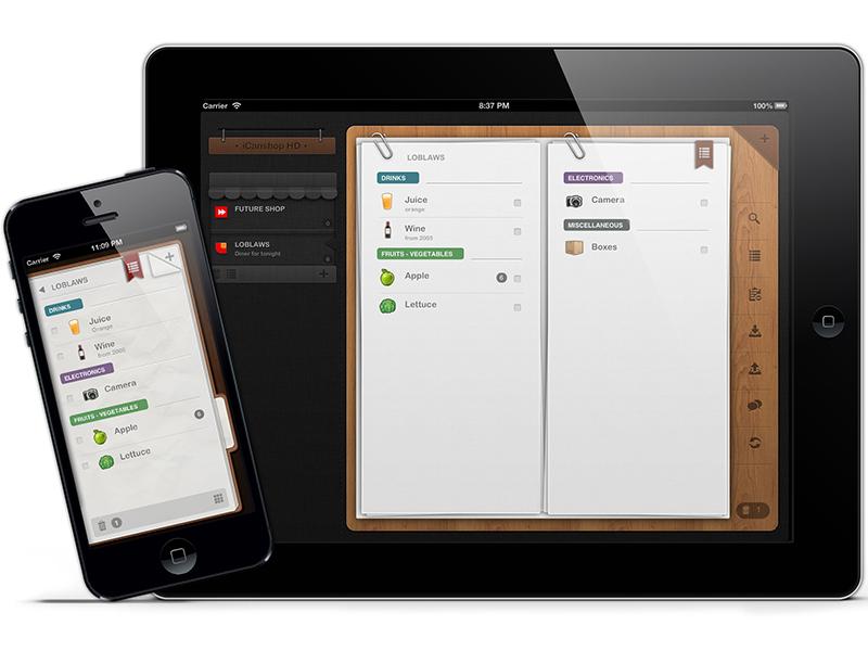 iCanShop app skeuomorphism shopping list multi ipad iphone wood