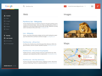 Google Redesign flat interface mobile widget google gmail website results lion