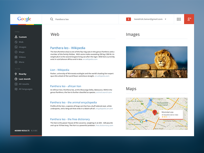 Google Redesign flat interface mobile widget google gmail website results lion