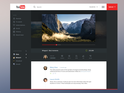 Youtube Redesign flat youtube redesign dark interface mobile web red videos playlist cinema