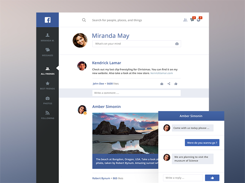 Facebook redesign - light flat facebook redesign dark interface mobile web blue social network chat