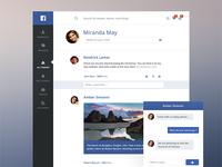 Facebook redesign - light flat facebook redesign dark interface mobile web blue social network chat