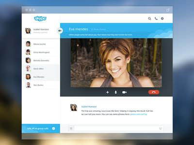 Skype mac version flat skype redesign mac interface mobile web blue videos call chat