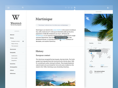 Wikipedia concept website wikipedia science encyclopedia transparent clean interface blog simple martinique flat