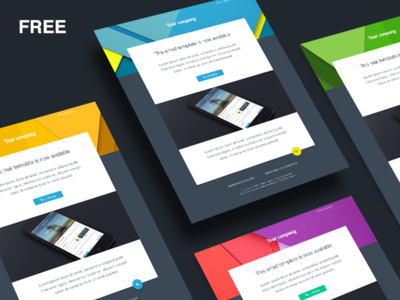 Free Email Template email template mail free material colors bold flat minimal sketch blue perspective