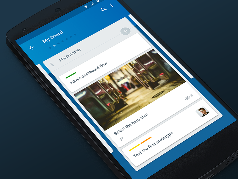 Trello material design dots navigation list cells gallery photo trello blue app material