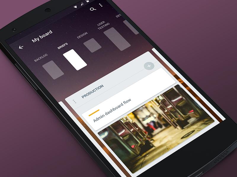 Trello Navigation android dots list cells gallery photo trello navigation app material