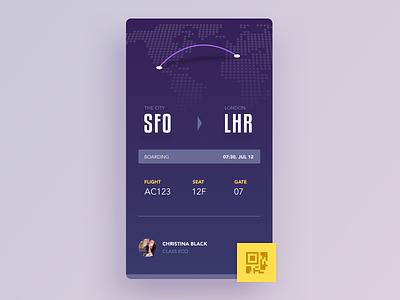 Boarding pass seat travel trip flight qr purple material pass boarding