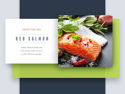 Menu - From The Sea clean red green color salmon menu ui collage flat