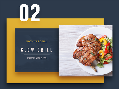 From the grill - menu dark version clean grill green color yellow menu ui collage flat