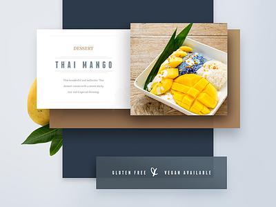 Menu Footer clean dessert fruit color thai mango brown menu ui collage flat