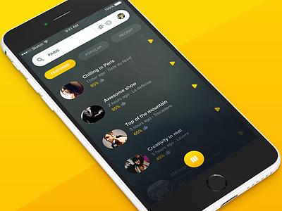 Roundies wunderlist app tabs visual navigation video list material flat