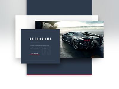 Drive presentation flat collage ui menu white autodrome red lamborghini drive car clean