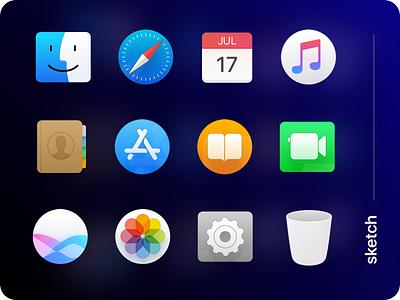 Mac OS dock icons vectorized apple finder dock icons mac vector settings siri calendar photo book sketch