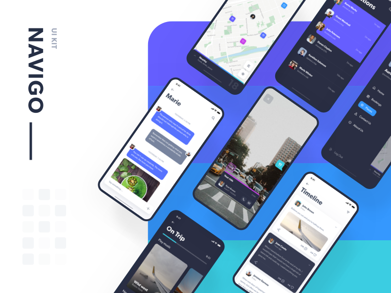 Navigo UI Kit 3d design ride uber timeline ar adobe kit map transport ui animation
