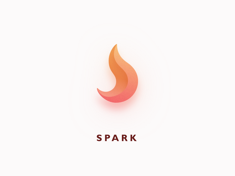 Spark logo illustration 3d shadow simple burning spark fire app icon logo