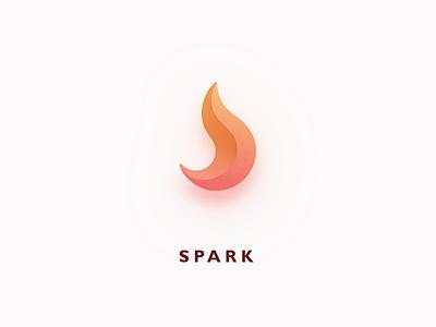 Spark logo illustration 3d shadow simple burning spark fire app icon logo