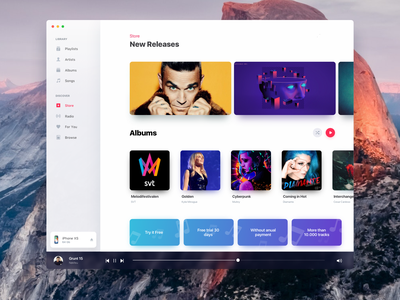 Apple OS Music Redesign available music desktop design blur shadow albums store songs player ios mac apple interface app ui