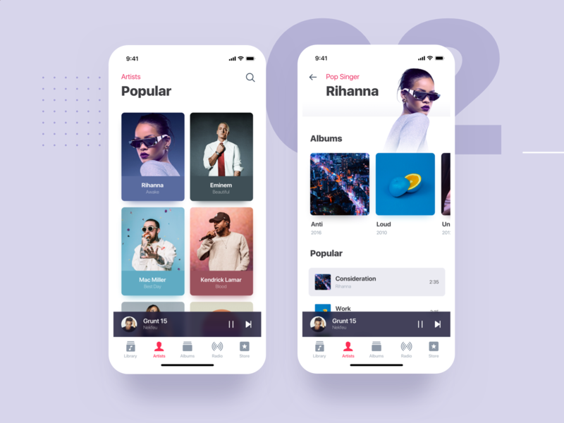 iOS Music Redesign available card artist minimalist clean mockups albums songs playlist music ios mobile interface app ui material flat