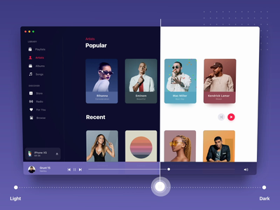 Apple Music 3d parallax - Animation and Branding music light dark motion transition card scrolling parallax 3d design mac apple interface animation app ui flat