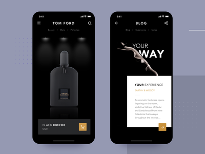 Luxury Perfume App mockup ecommerce blog black perfume shopping luxury ios product design mobile apple interface app material ui flat