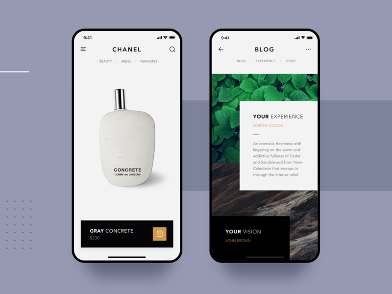 Luxury Perfume App buy store mockup ios ecommerce beauty concrete chanel luxury perfume photography clean list interface app material ui flat