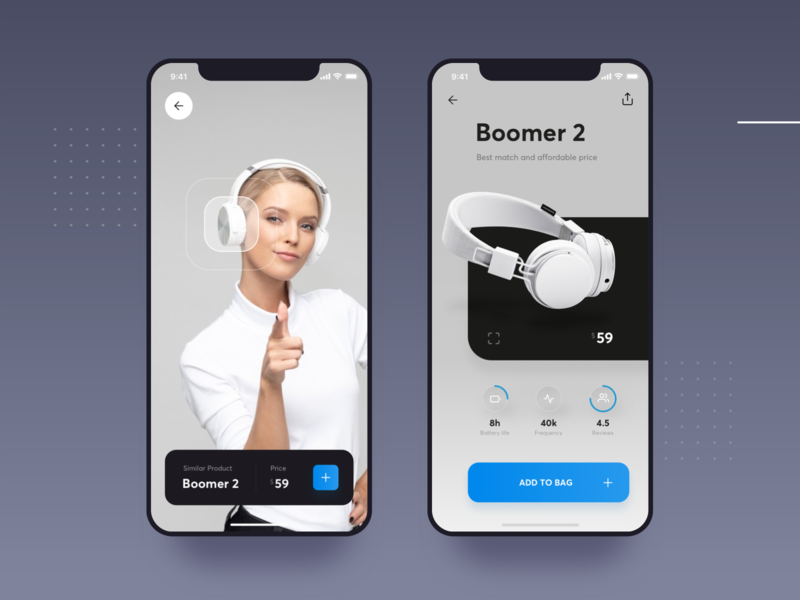 Augmented Reality Similar Product device camera ios buy store music headphones similar processing recognition virtual augmented ar list apple design interface material ui flat