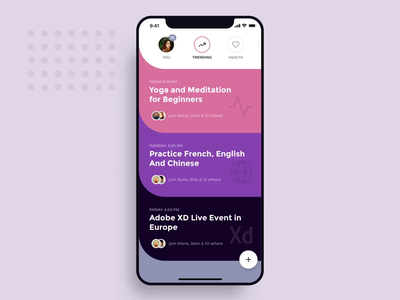Social Meet Up UI Kit - Motion & Product design mobile branding lottie ios material profile gestures navigation micro interaction colors list mockup 3d animation motion adobexd xd free kit ui