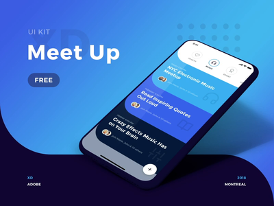 Customize the Meet Up Ui Kit - Branding and Logo gradients colors cards adobexd xd free freebie design mac mobile animation app interface flat kit rounded round curve motion