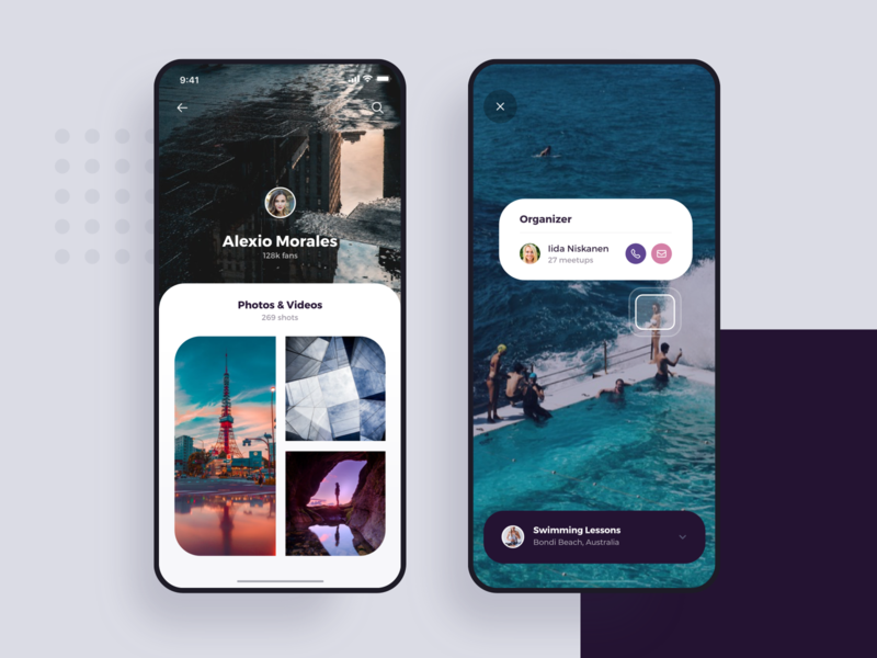 Augmented Reality and Profile - iOS Mobile Design ai artificial artificial intelligence mockups bubbles corner visual profile virtual reality augmented ar list animation interface app material ui flat