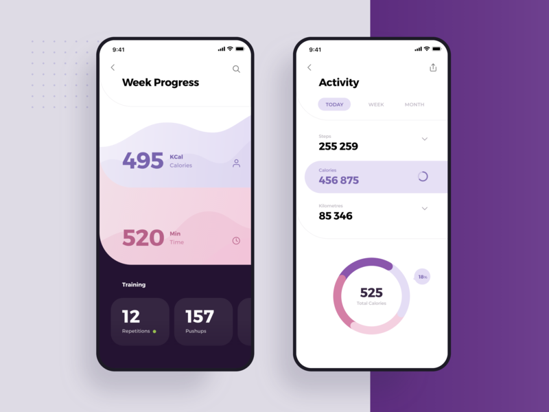 Charts - Social Meet Up Ui Kit trainer infographics numbers activity visualization data information pie charts statistics apple mobile material app ui flat