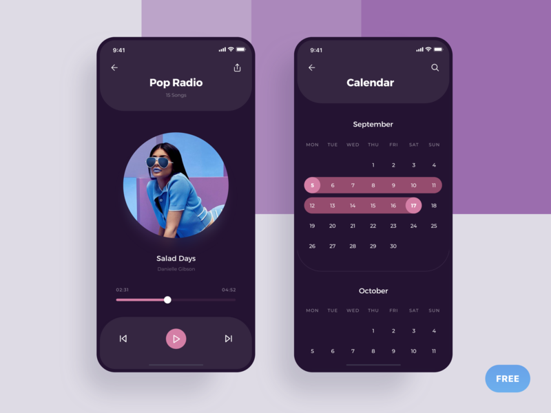 Player & Calendar - Social Meet Up Ui Kit pink freebie free rounded round social dark listen calendar pop player music radio ios apple animation list app
