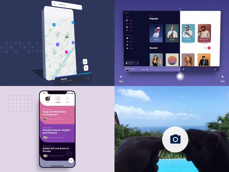 Best shots of 2018 elegant simple clean round mucis itunes motion vr ar ios mac mobile interface material ui flat animation app