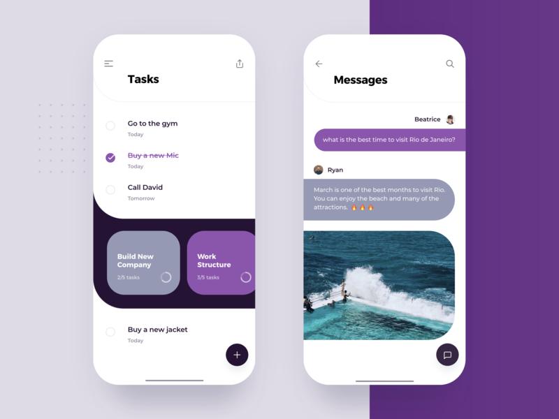 Tasks & Messages mockup project purple best send message todo management minimalist simple clean task ios mobile list interface material app ui flat