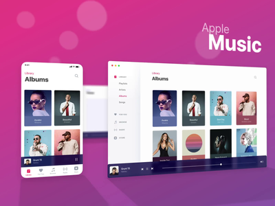 Apple Music Ui Kit clean animation 3d shadow motion dof camera card artist album music player mac ios list interface material app ui flat