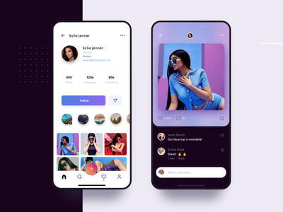 Instagram Redesign Visual Concept gradient viewer comment model fashion account profile gallery photo blur vector color clean mobile list interface material app ui flat