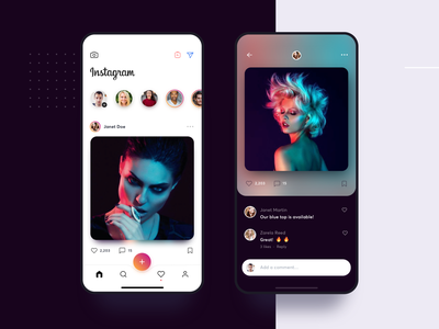 Instagram Redesign Visual Concept fab gradient minimalist clean clothing fashion stories comment photo gallery instagram list material app ui flat