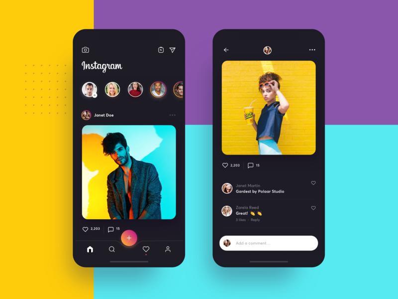 Instagram Dark Visual Concept redesign cta navigation avatars like stories gallery network social instagram color design list interface material app ui flat