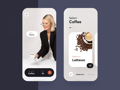 Augmented reality AR scanner minimalist simple clean coffee suggestion future futuristic scanner virtual reality augmented reality vr ar list interface material app ui flat
