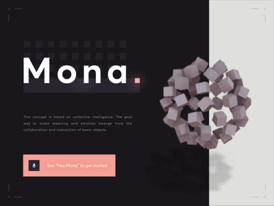 Mona Microsoft A.I. - Play Music futuristic future recognition voice emotion alexa google microsoft assistant animation 3d motion illustration design interface app ui intelligence artificial ai
