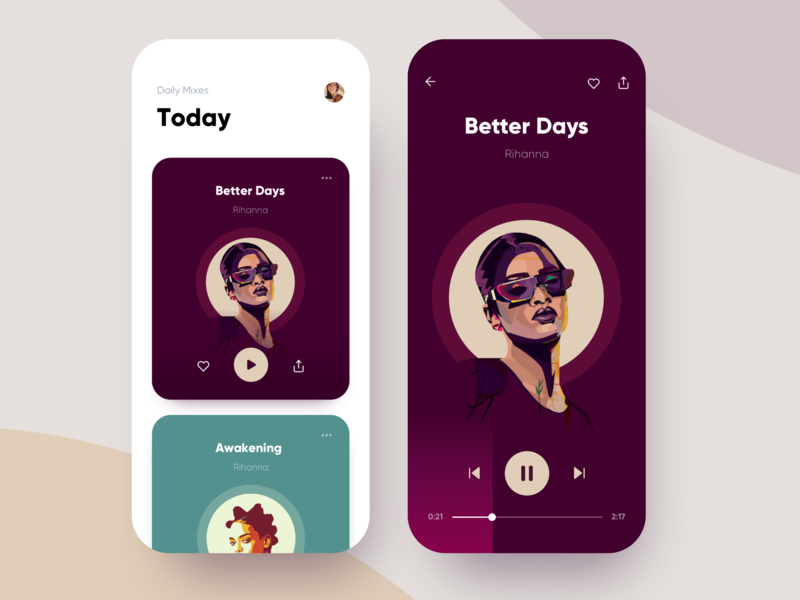 Apple Music Player - Playlist apple list design mobile clean colorful entertainment interface material ui app play artist playlist music player android ios